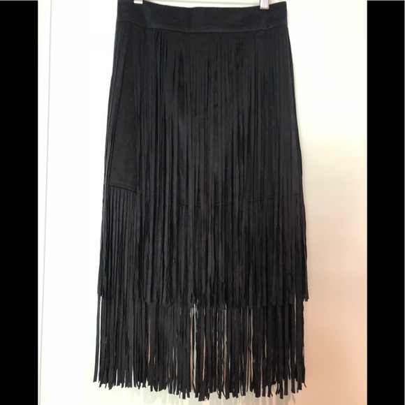 Zara Dresses & Skirts - 🔴 ZARA Suede Fringe Skirt 🔴